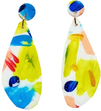 Abstract Hand Painted Lightweight Clay Earrings - Ann