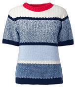 Lands' End Women's Cotton Elbow Sleeve Stripe Sweater-Deep Sea Border Stripe