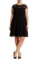London Times Scallop Lace Flared Shift Dress (Plus Size)