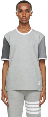 Thom Browne Grey Contrast Sleeve Ringer T-Shirt