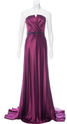 Carmen Marc Valvo Strapless Bead-Accented Evening Dress