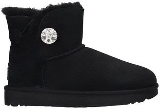 UGG Mini Bailey But Low Heels Ankle Boots In Black Suede
