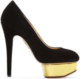 Charlotte Olympia Black Suede Platform Dolly Heels