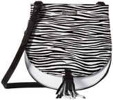 Just Cavalli Leather/Zebra Suede Saddle Bag Cross Body Handbags