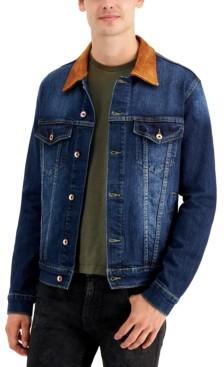 Denim Bay Men's Suede-Collar Denim Jacket