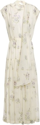 Joseph Draped Floral-print Silk-georgette Midi Dress