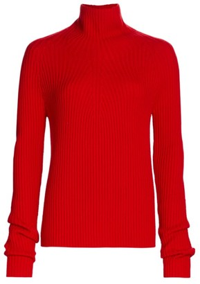 St. John Ribbed Turtleneck Wool Sweater
