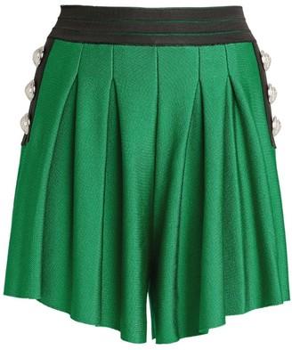 Balmain Pleated High-Waist Shorts