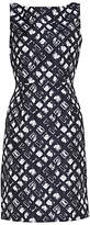 Gina Bacconi Geometric Jacquard Dress, Spring Navy