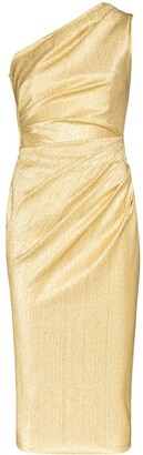 Dolce & Gabbana One-Shoulder Metallic Silk-Blend Midi Dress