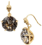Betsey Johnson Skeletons After Dark Patina Faceted Stone Goldtone Drop Earrings