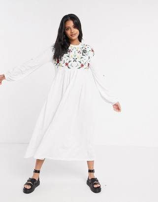 ASOS DESIGN embroidered smock midi dress with lace up back in white