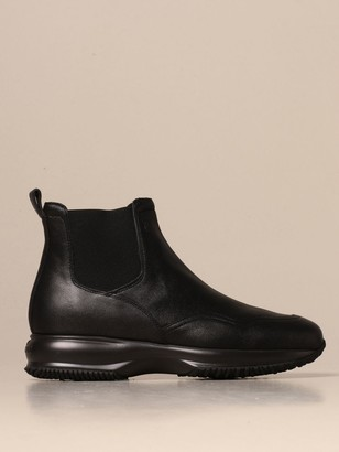 Hogan Flat Booties Interactive Chelsea Boot In Leather