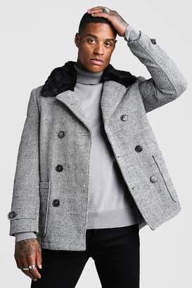 boohoo Faux Fur Collar Wool Mix Pea Coat