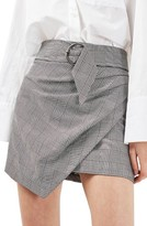 Topshop Women's Belted Glen Plaid Miniskirt