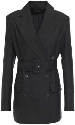 Ann Demeulemeester Double-breasted Belted Woven Blazer
