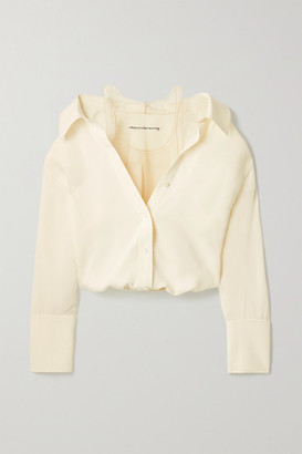 Alexander Wang Cropped Silk-crepe And Stretch-tulle Blouse - Ivory