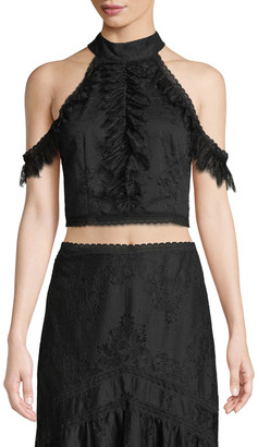 Alice + Olivia Regina Cold-Shoulder Lace Crop Top