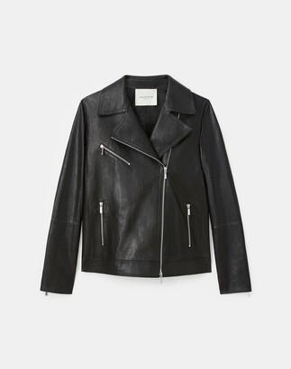 Lafayette 148 New York Petite Washed Italian Lambskin Aisling Moto Jacket