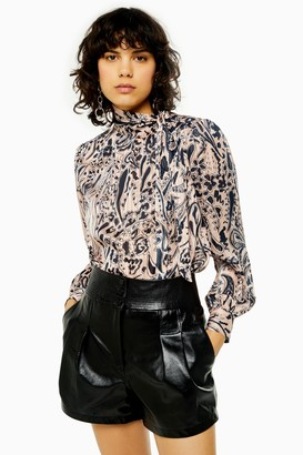 Topshop Womens Idol Paisley Pussybow Blouse - Nude