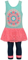 RMLA Little Girls Neon Tribal Motif Pattern 2 Pc Legging Outfit