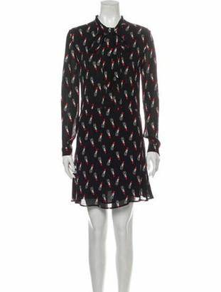 Saint Laurent Printed Mini Dress Black
