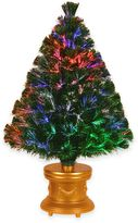 National Tree 3-Foot Fiber Optic Evergreen Christmas Tree with Gold Base