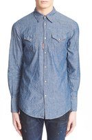 DSQUARED2 Men's Extra Trim Fit Chambray Western Shirt