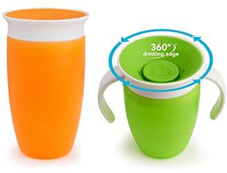 Munchkin Miracle 360 Degrees Sippy Cup with Trainer Cup - 10 oz/296 ml and 7 oz/207 ml, Green/Orange