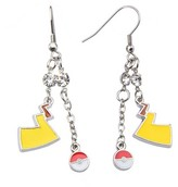 Pokemon Women's Poké Ball and Lightning Bolt Stainless Steel Dangle Earrings