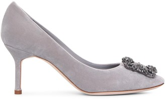 Manolo Blahnik Hangisi 70 grey velvet pumps