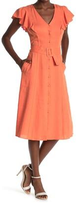 Donna Morgan Flutter Sleeve Belted Button Midi Dress