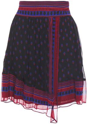 BA&SH Wrap-effect Printed Crepon Mini Skirt