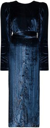 Rotate by Birger Christensen Barbara velvet land Lurex midi dress