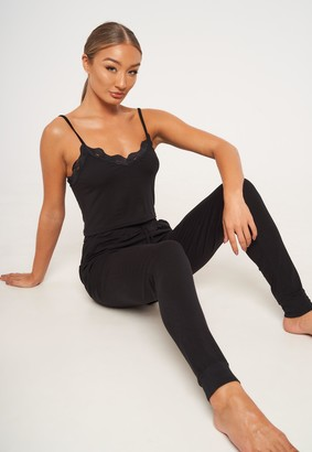 Missguided Black Lace Trim Strappy Top And Joggers Pyjama Set