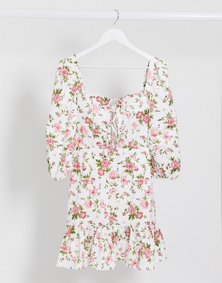 Rare London milkmaid lace up floral dress in multi