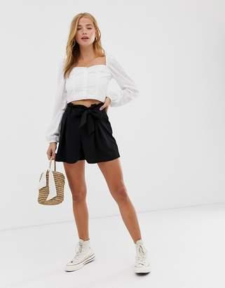 New Look tie front scuba shorts-Black