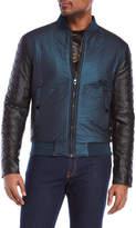 Versace Leather Sleeve Bomber Jacket