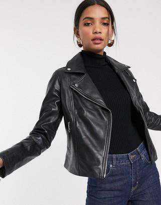 Barneys New York Barneys Originals leather biker jacket with pull ring zips-Black