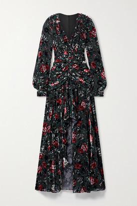 PatBO Ruched Ruffled Floral-print Devore-velvet Gown - Black