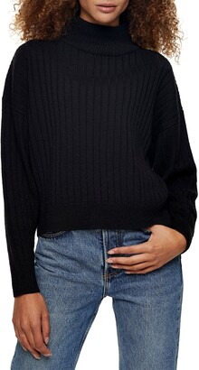 Topshop Rib Knit Turtleneck Sweater