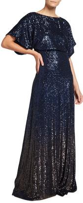 Maison Common Long Empire-Waist Sequin Gown