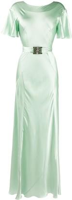 Alberta Ferretti Draped Sleeves Embellished Buckle Dress