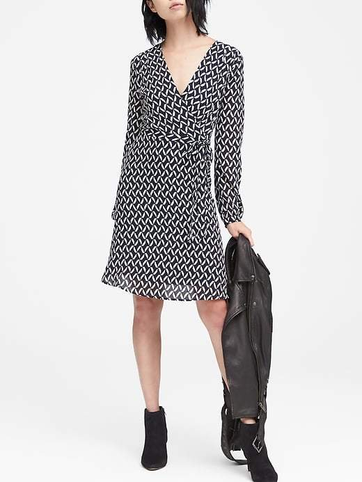Banana Republic Petite Print Wrap Dress