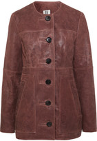 Topshop Cracked-leather Jacket - Burgundy