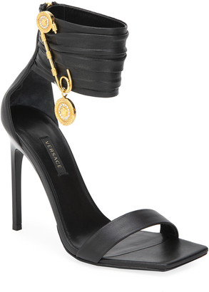 Versace Golden Pin Ankle-Cuff Sandals