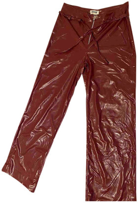 Just Female Red Leather Trousers for Women