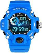 Linwach Blue Kid's Boy's Large Face Sports Waterproof Analog Digital Watch