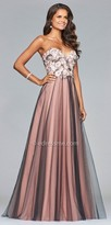 Faviana Strapless Lace Applique Tulle A-line Prom Dress