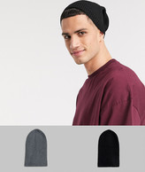 Asos Design DESIGN 2 pack slouchy beanie in gray and black SAVE
